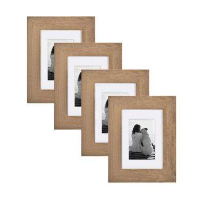 Museum 5 in. x 7 in. Matted to 3.5 in. x 5 in. Rustic Brown Picture Frame (Set of 4)
