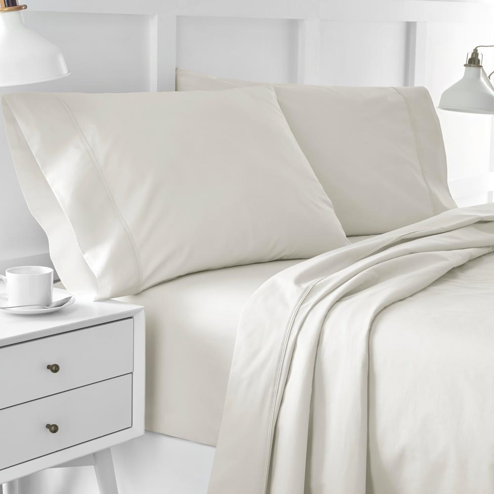 Urban Edgelands T200 4-Piece Feather Tan Organic Cotton Full Sheet Set