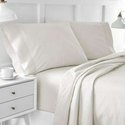 Urban Edgelands T200 4-Piece Feather Tan Organic Cotton Full Sheet Set