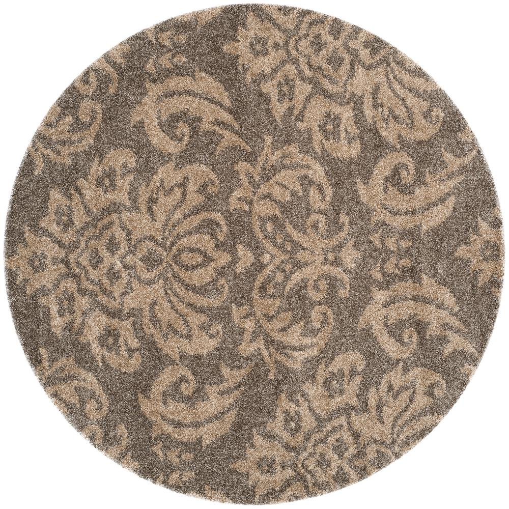 Safavieh Florida Shag Smoke Beige 5 Ft X Round Area Rug
