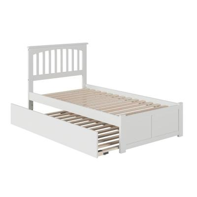 Mission Twin Extra Long Bed with Footboard and Twin Extra Long Trundle in White