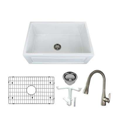 Logan All-in-One Farmhouse/Apron-Front Fireclay 30 in. Single Bowl Kitchen Sink with Faucet in White