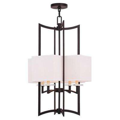 Woodland 4-Light Olde Bronze Mini Chandelier with Hand Crafted Off-White Fabric Hardback Shade