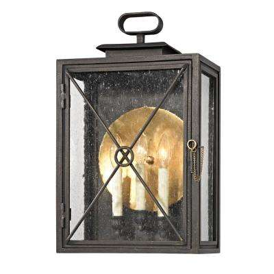 Randolph 3-Light Vintage Bronze 20 in. H Outdoor Wall Mount Sconce with Clear Seeded Glass