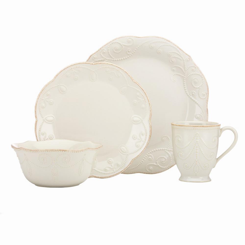 Lenox French Perle 4 Piece White Dinnerware Set