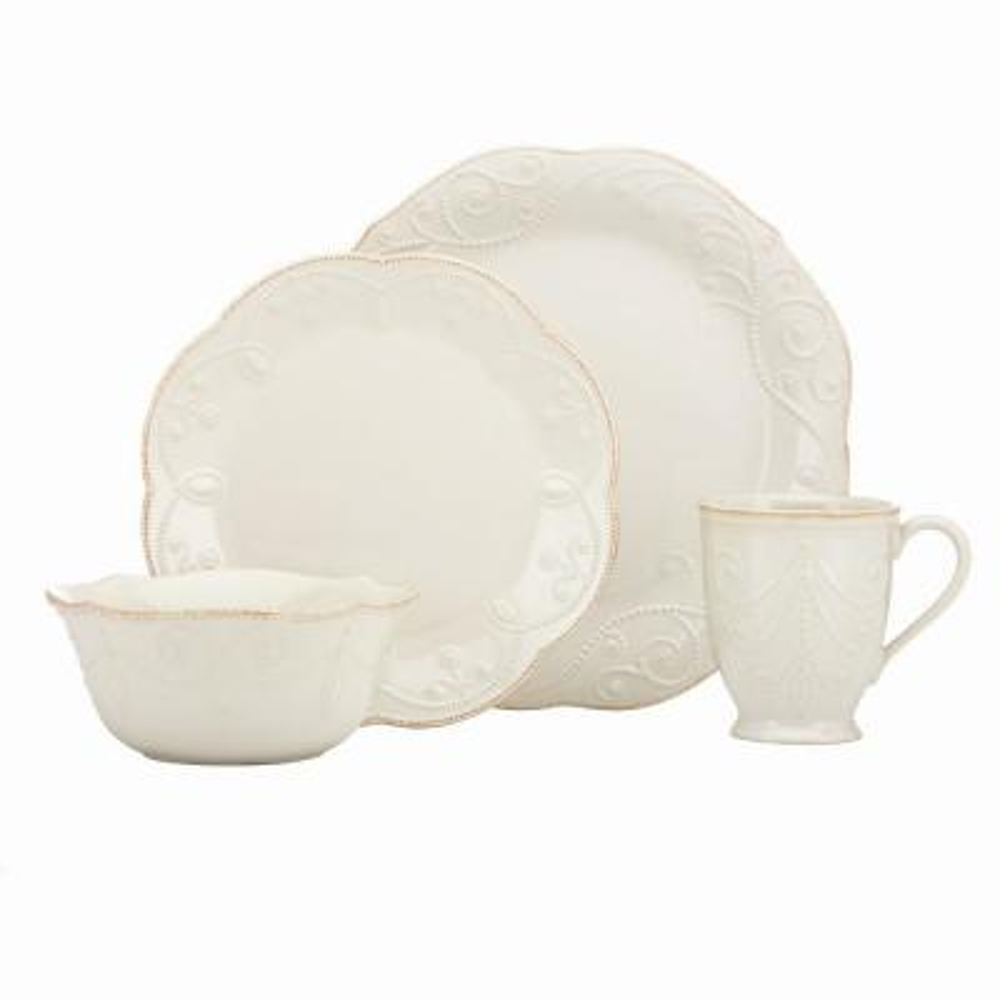 French Perle 4 Piece White Dinnerware Set