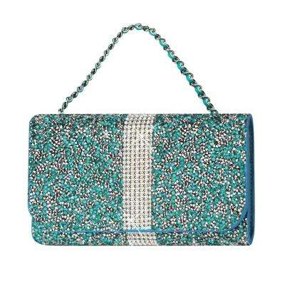 Large Rhinestone Pouch in Blue