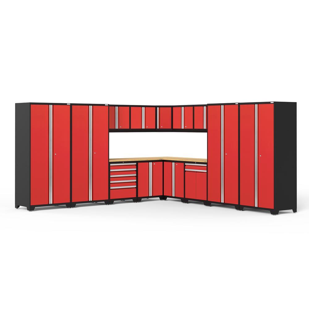 Pro 3.0 85.25 in. H x 304 in. W x 24 in. D 18-Gauge Welded Steel Garage Cabinet Set in Red (16-Piece)