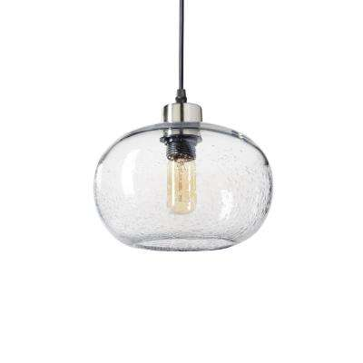 9 in. W x 6 in. H 1-Light Silver Effervescent Hand Blown Glass Pendant Light with Clear Glass Shade