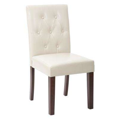 7 Button Dining Chair with Espresso Legs and Cream Deluxe Bonded Leather