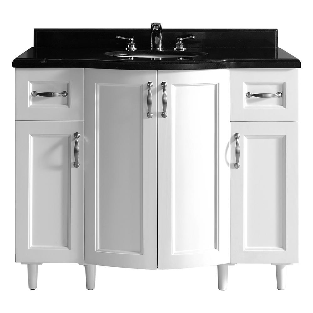 Gigi 42 in. Vanity in White with Granite Vanity Top in Black