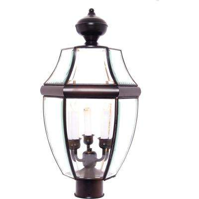 South Park 12 in. Wide 3-Light Outdoor Black Post Light