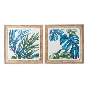 29 in. x 29 in. Square Blue and Green Botanical Leaves On Paper Wood Wall Art with Natural Reed Framing (Set of 2)