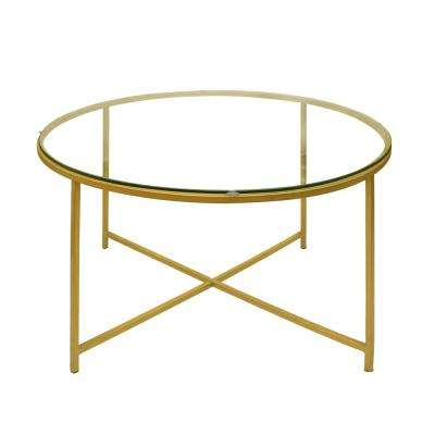 Gold and Clear Round Metal Coffee Table with Glass Top and X Shape Base