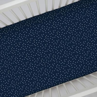 Navy with White Stars 100% Cotton Sateen Fitted Crib Sheet
