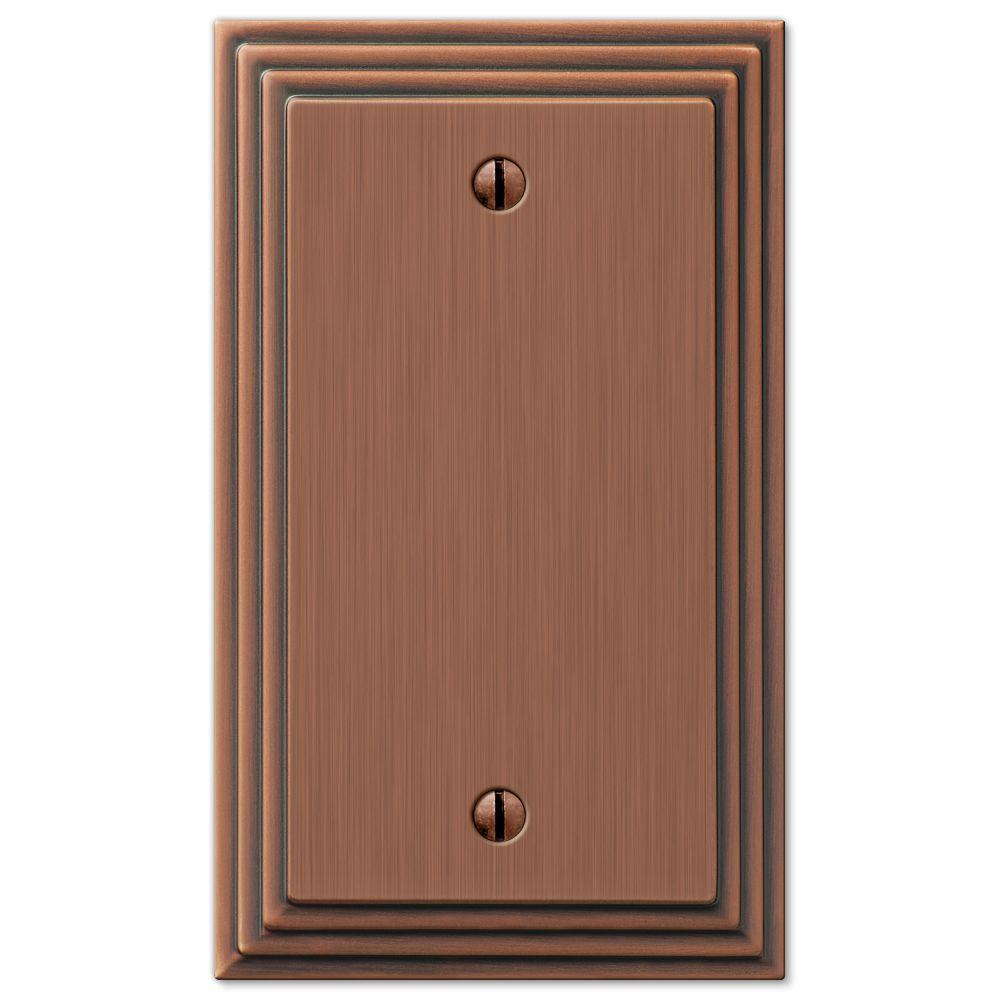 AMERELLE Tiered 1 Gang Blank Metal Wall Plate - Antique Copper