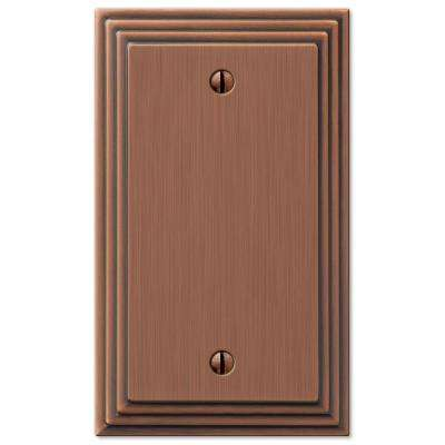 Tiered 1 Gang Blank Metal Wall Plate - Antique Copper