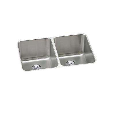 Lustertone Perfect Drain Undermount Stainless Steel 31 in. Double Bowl Kitchen Sink with 10 in. Bowl