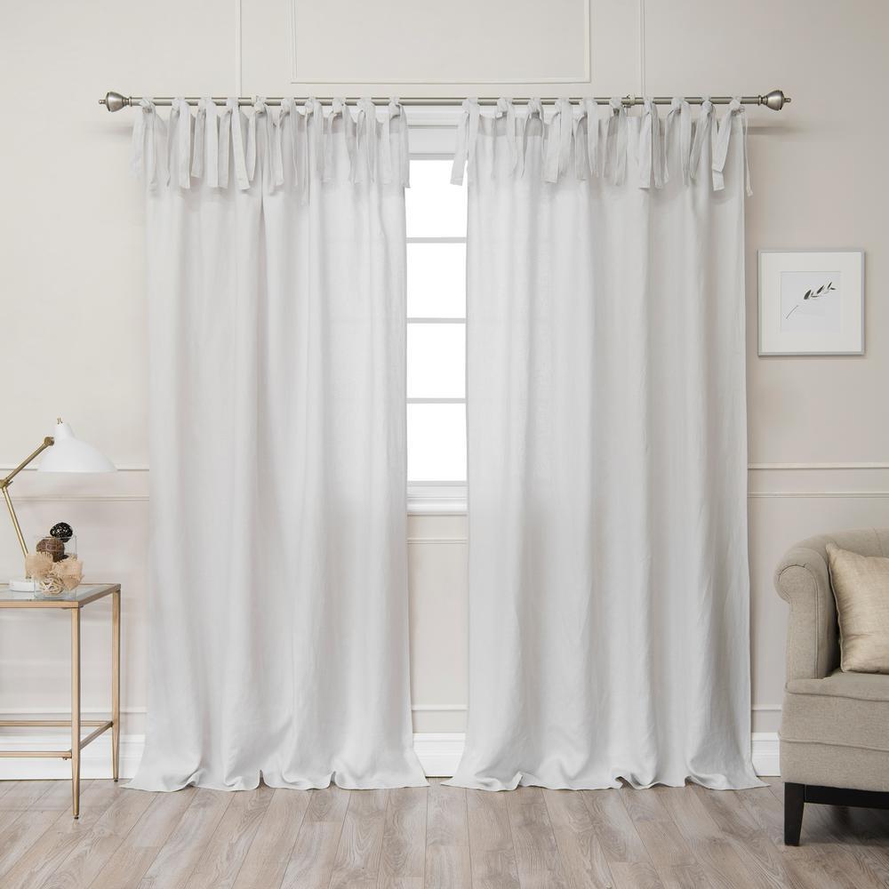 Light Grey 84 in. L Abelia Belgian Flax Linen Tie Top Curtain Panel