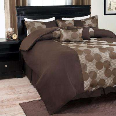 7-Piece Modern Circles Chocolate Queen Comforter Set