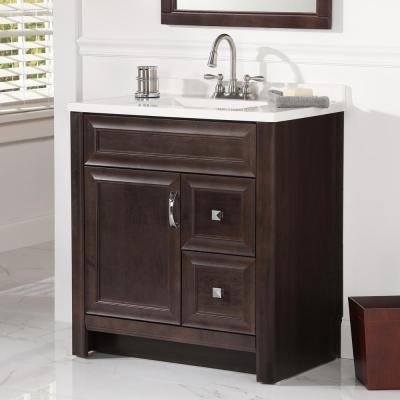 Candlesby 31 in. W x 19 in. D Bathroom Vanity in Pewter with Cultured Marble Vanity Top in White