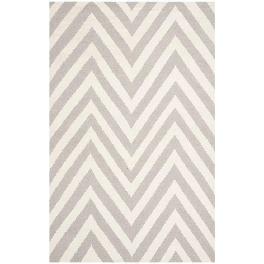 Dhurries Grey/Ivory 6 ft. x 9 ft. Area Rug