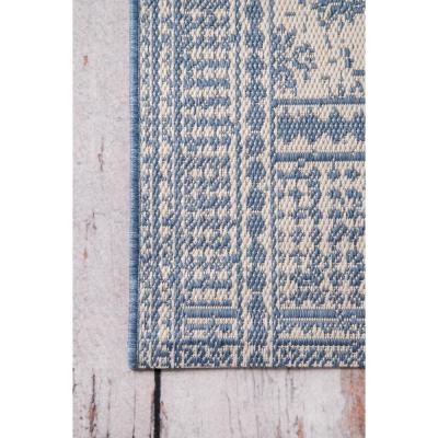 Rana Border Outdoor Blue 8 ft. 6 in. x 12 ft. Area Rug