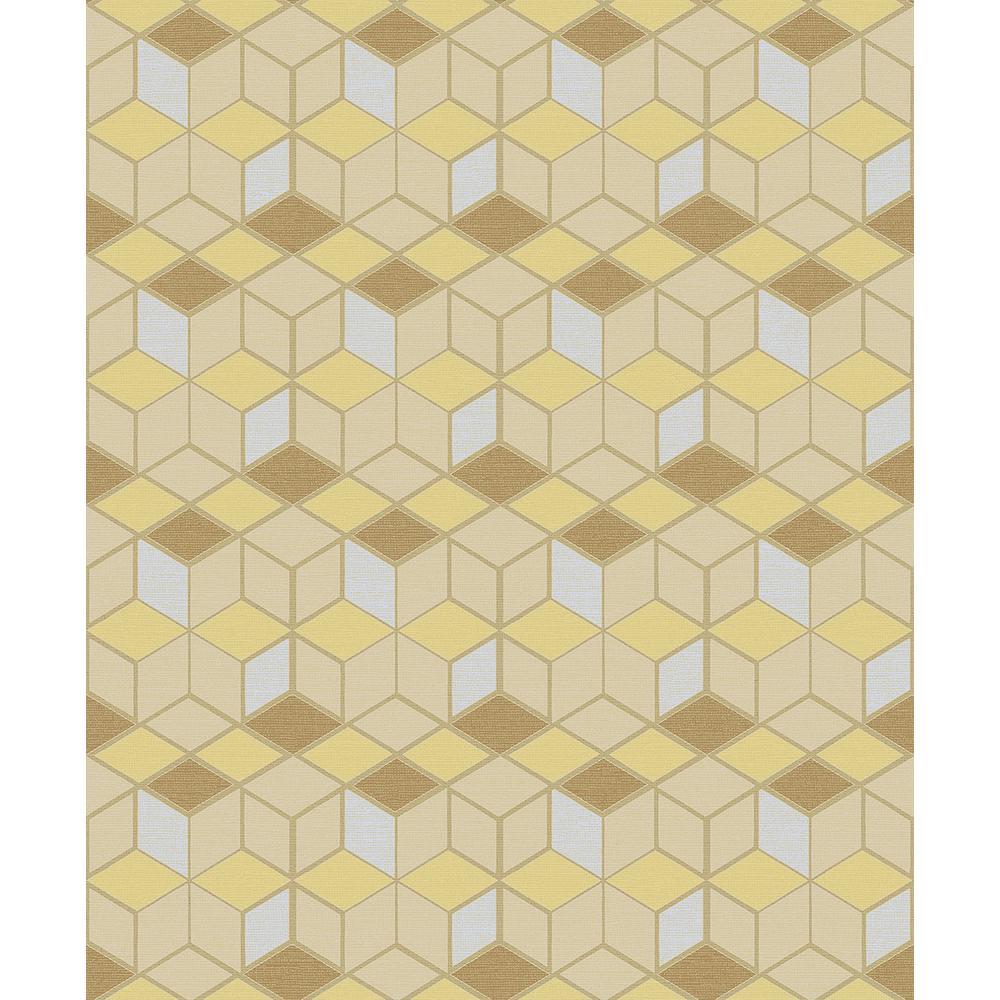 Advantage 8 in. x 10 in. Joanne Mustard Blox Wallpaper Sample