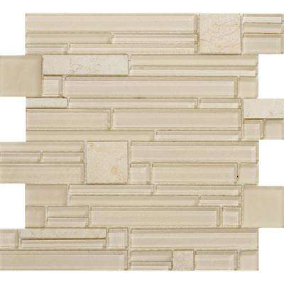 Entity Life Glossy 11.81 in. x 11.81 in. x 8mm Glass Mesh-Mounted Mosaic Tile