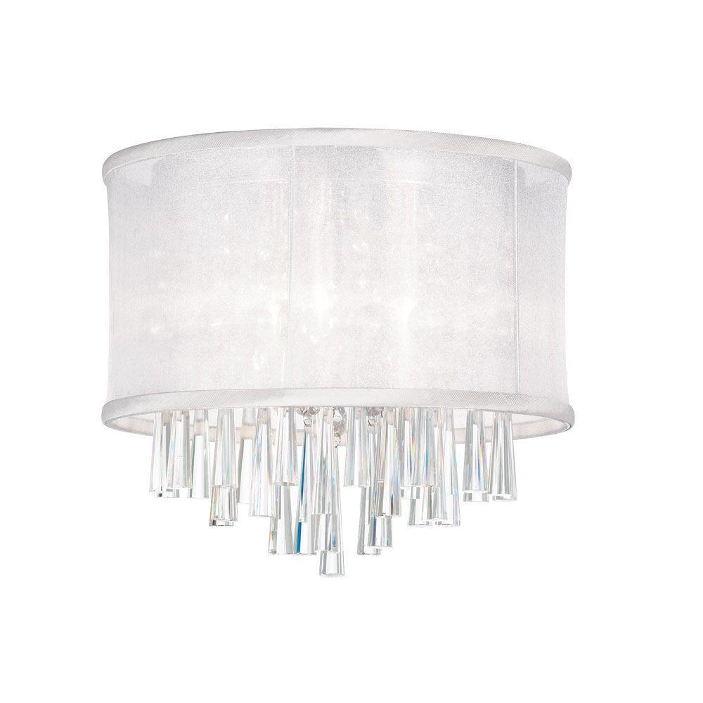Josephine 3-Light Polished Chrome Crystal Flushmount with White Organza Drum