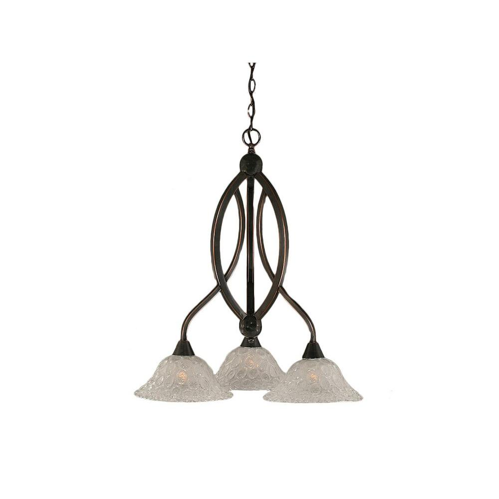 Concord 3-Light Black Copper Chandelier with Italian Bubble Glass