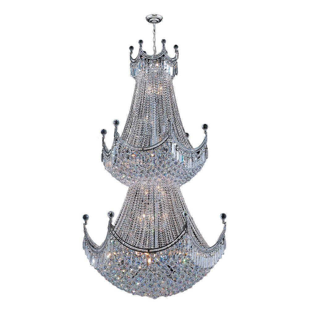 11d5e6e08c Worldwide Lighting Empire Collection 36-Light Chrome and Crystal Chandelier