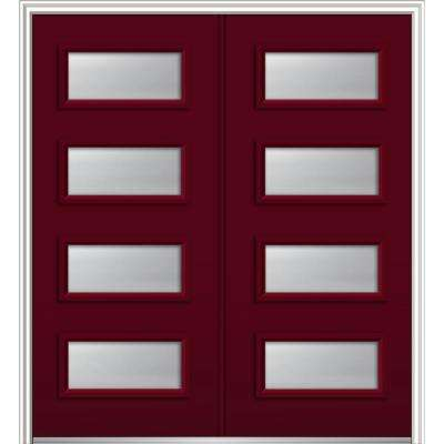 72 in. x 80 in. Celeste Left-Hand Inswing 4-Lite Frosted Painted Fiberglass Smooth Prehung Front Door 6-9/16 in. Frame