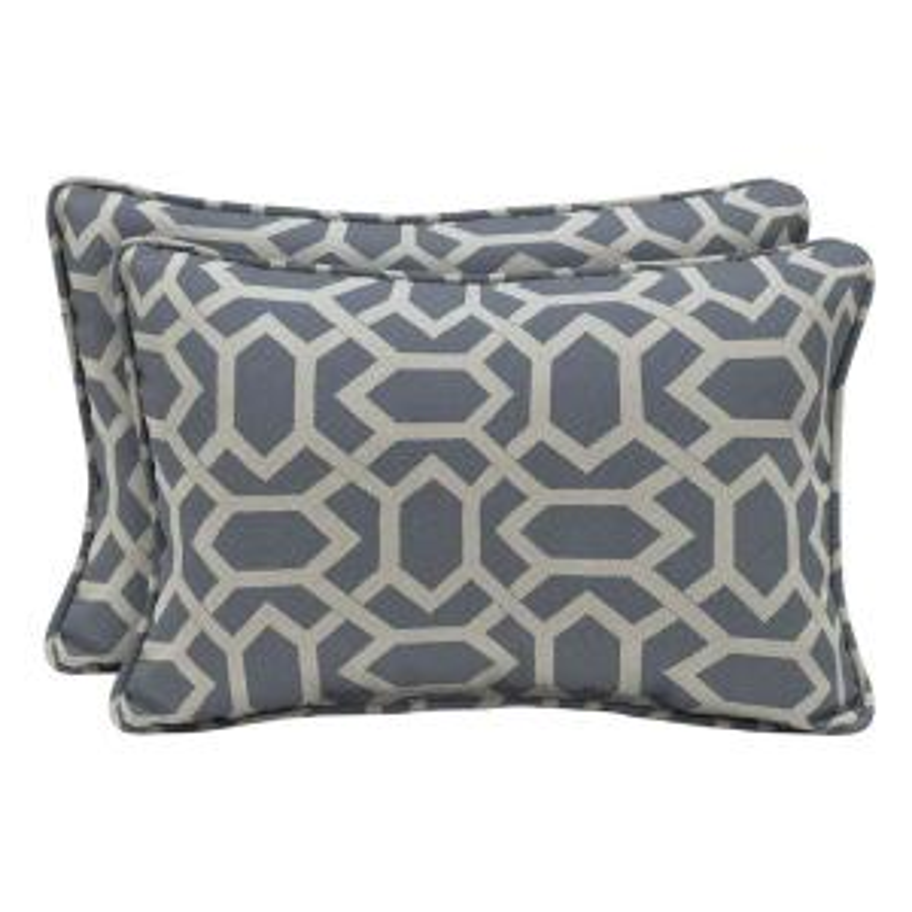 CushionGuard Midnight Hex Lumbar Outdoor Throw Pillow (2-Pack)