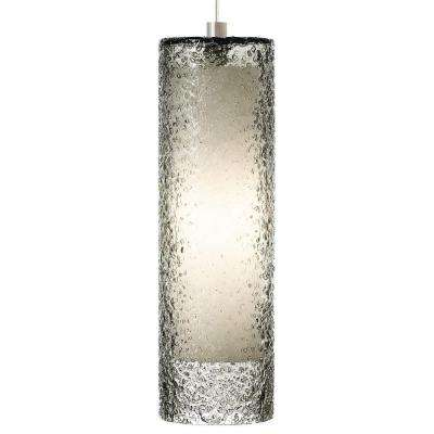 Rock candy 1 light satin nickel fluorescent cylinder pendant with smoke shade