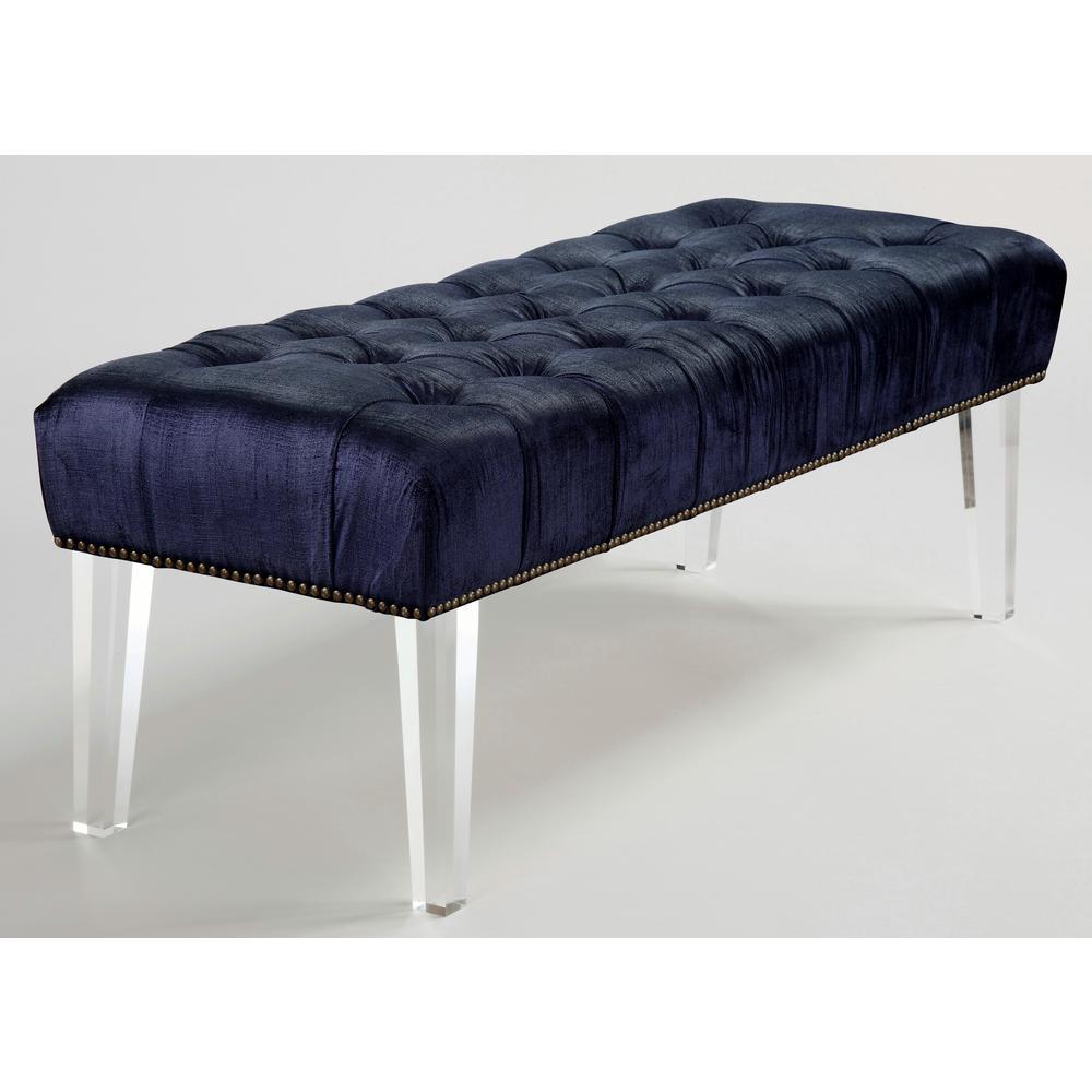 Stella Navy Velvet Lucite Bench, Blue/Velvet