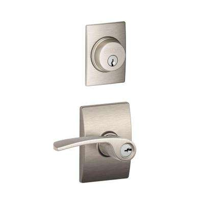 Century Satin Nickel Single Cylinder Deadbolt with Merano Entry Door Lever Combo Pack