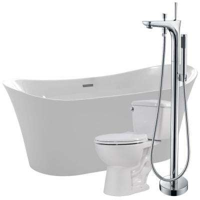 Eft 67 in. Acrylic Flatbottom Non-Whirlpool Bathtub with Kase Faucet and Author 1.28 GPF Toilet