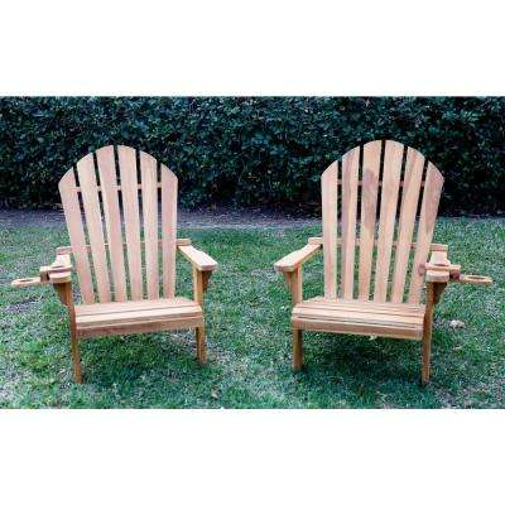 Redondo Teak Wood Adirondack Chair and Cup Holder (2-Pack)