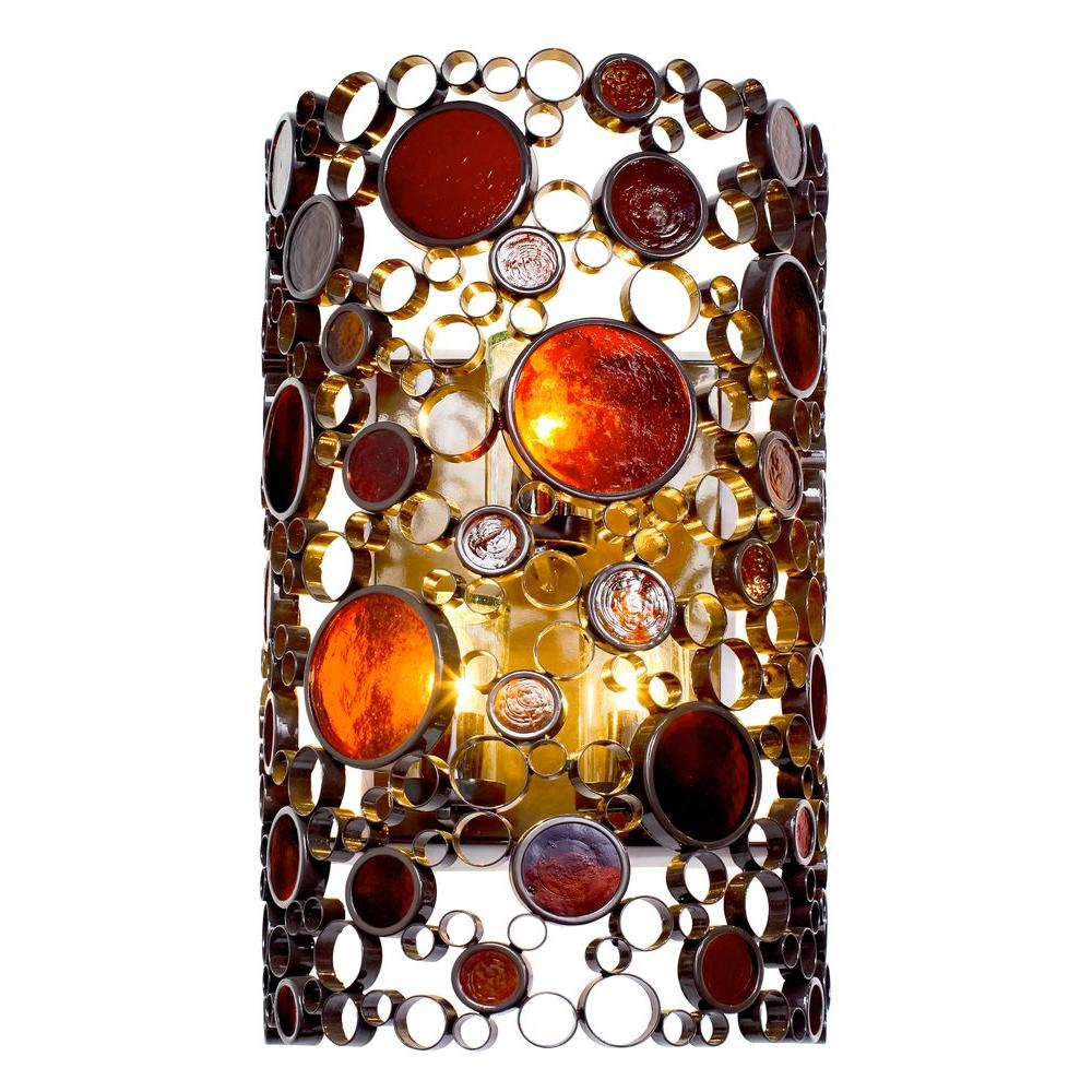 Varaluz Fascination 3-Light Glossy Bronze Outdoor Sconce with Amber Glass