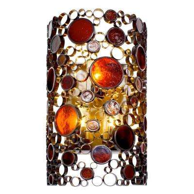 Fascination 3-Light Glossy Bronze Outdoor Sconce with Amber Glass