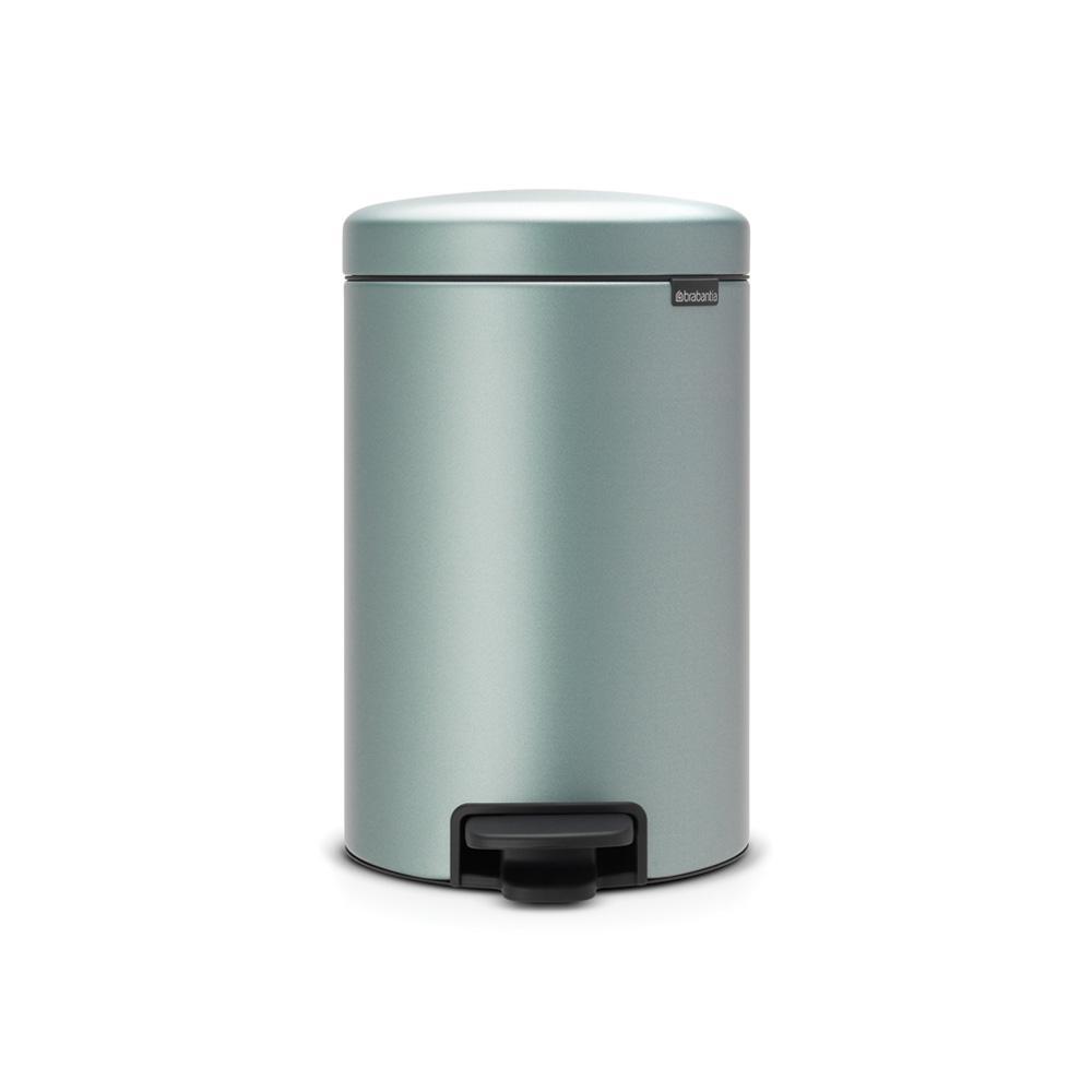 Brabantia 3.2 Gal. Metallic Mint Steel Step-On Trash Can-113765 ...