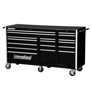International Pro Series 75 inch 17-Drawer Roller Cabinet Tool Chest in Black by International