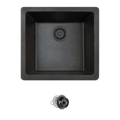 All-in-One Dualmount Composite 18 in. Single Bowl Kitchen Sink in Black