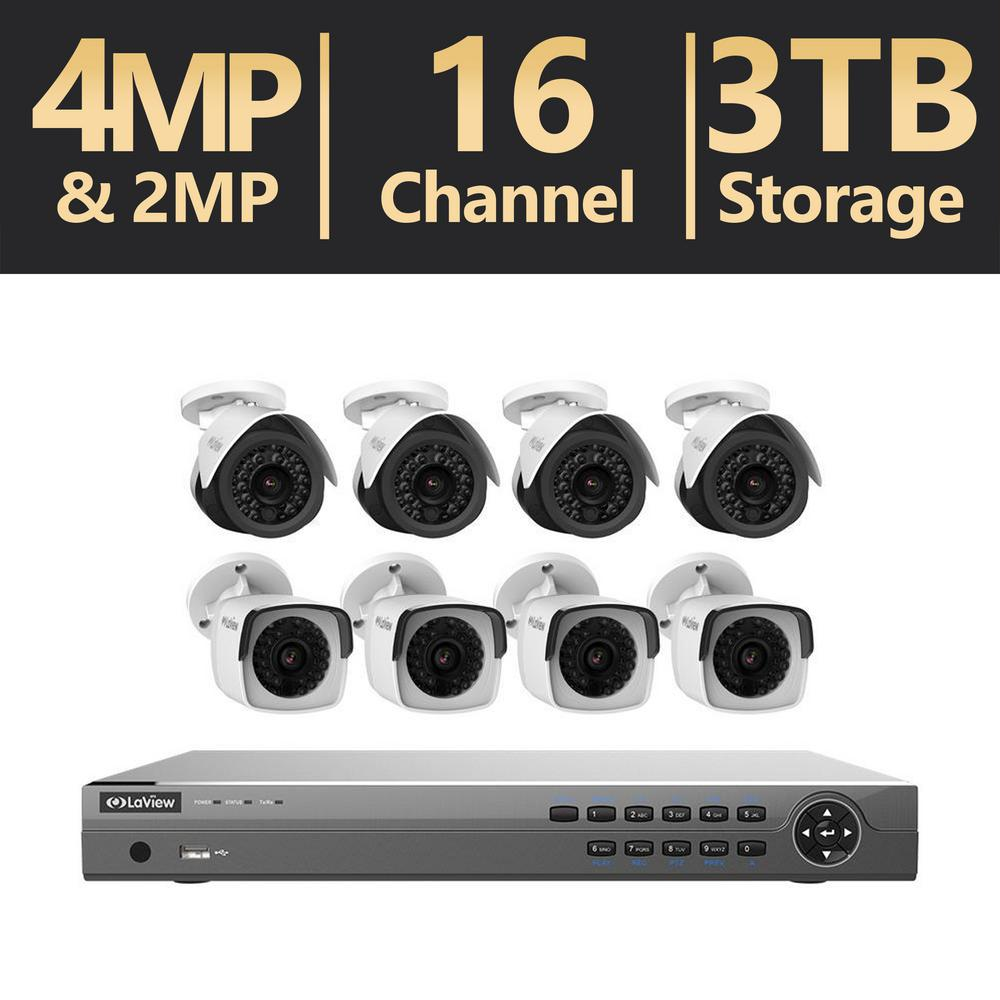 16-Channel Full HD IP 3TB NVR Security System (4) 4MP Bullet