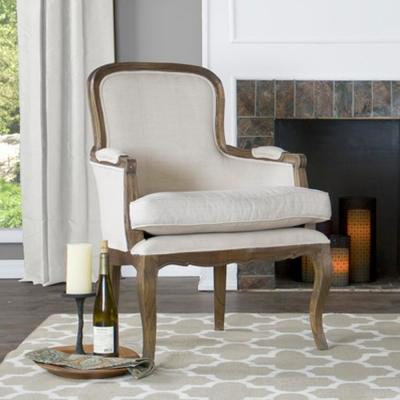 Napoleon Beige and Dark Brown Fabric Upholstered Accent Chair