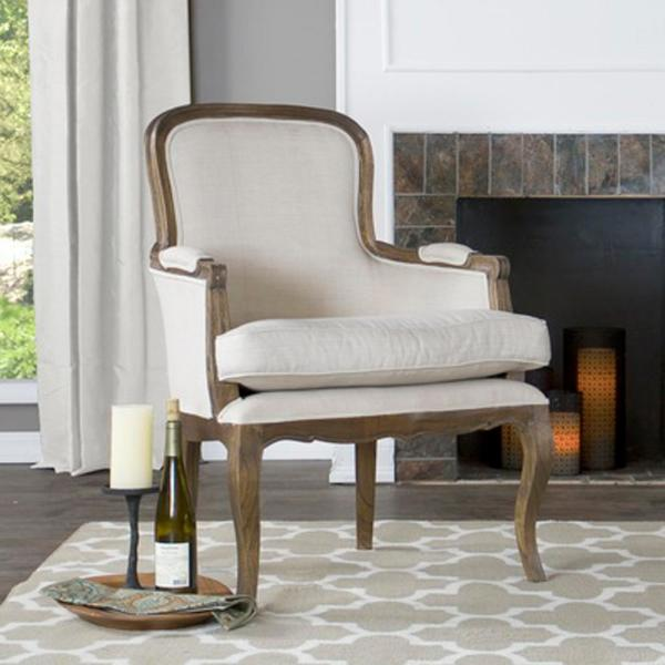 Baxton Studio Napoleon Beige and Dark Brown Fabric Upholstered Accent Chair