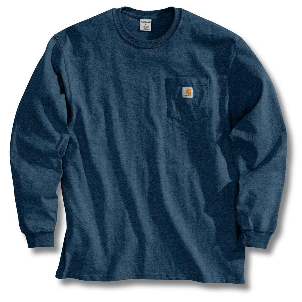 5d668b73487 Carhartt Men s Regular Small Navy Cotton Long-Sleeve T-Shirt-K126 ...
