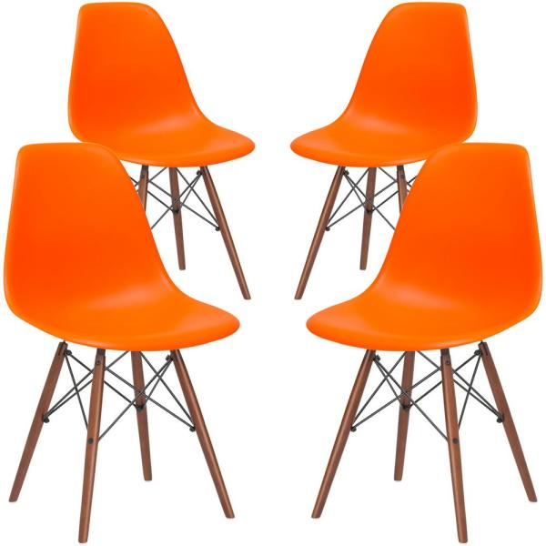 Poly and Bark Vortex Orange Side Chair with Walnut Legs (Set of 4)
