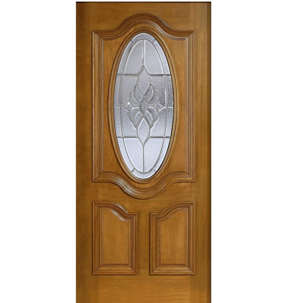 Main Door 36 in. x 80 in. Mahogany Type 3/4 Oval Glass Prefinished Walnut Beveled Zinc Solid Stained Wood Front Door Slab